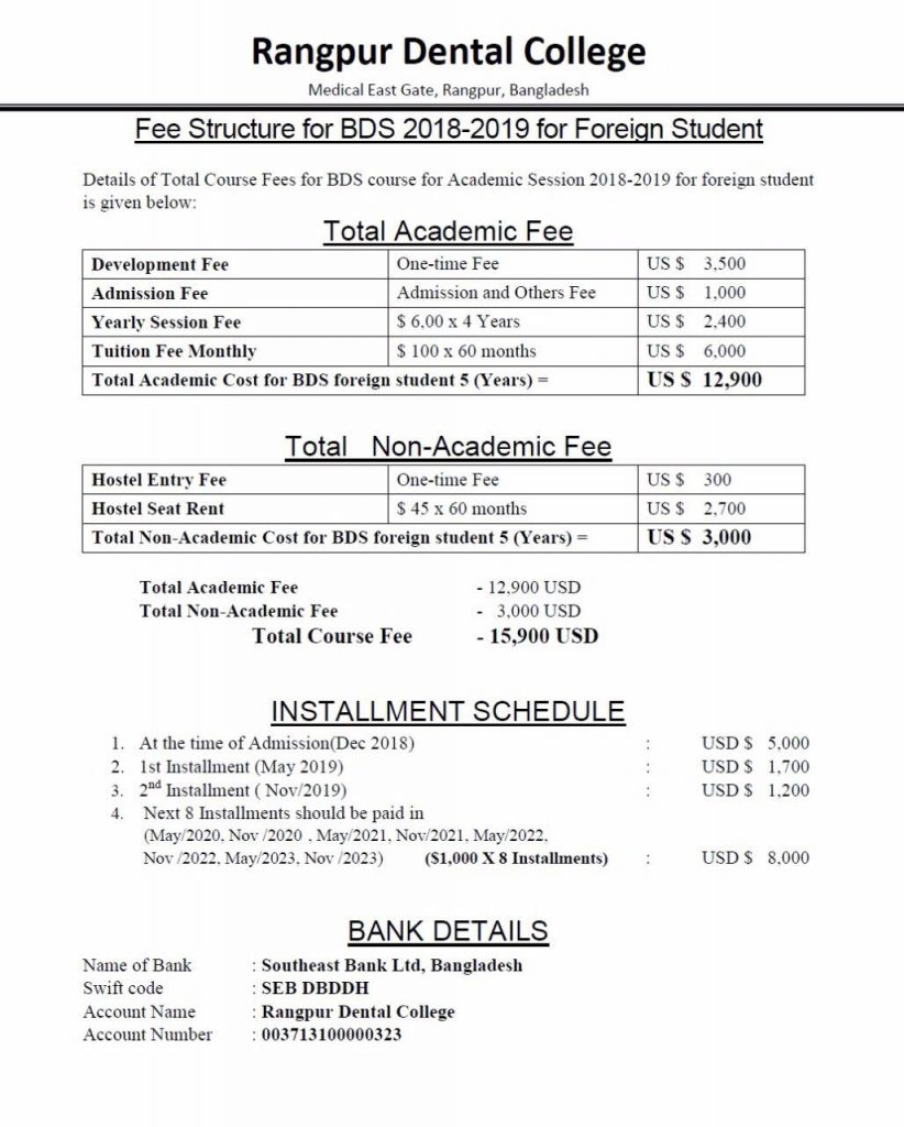 Bangladesh Medical College Fee Structure 2018